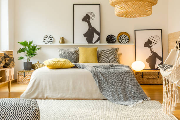 warm modern bedroom interior - home decor boho imagens e fotografias de stock