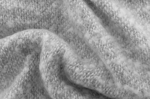 Gray crumpled mohair wool close-up