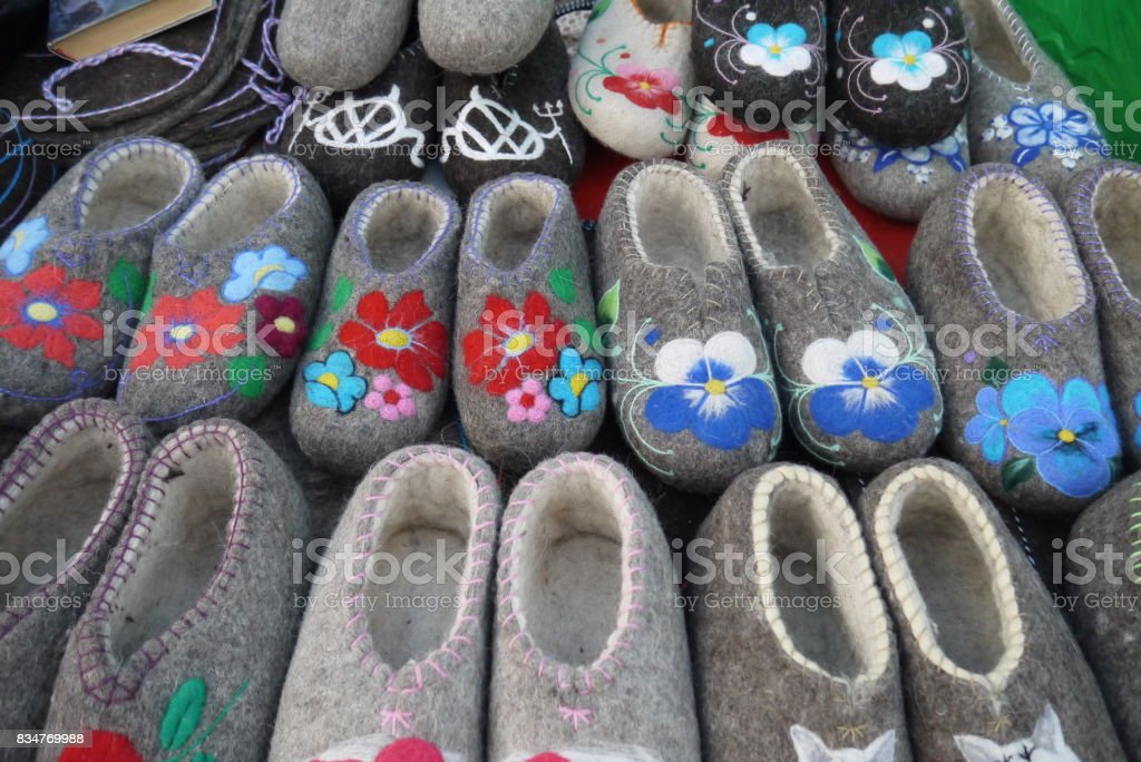 Warm natural winter footwear stock photo