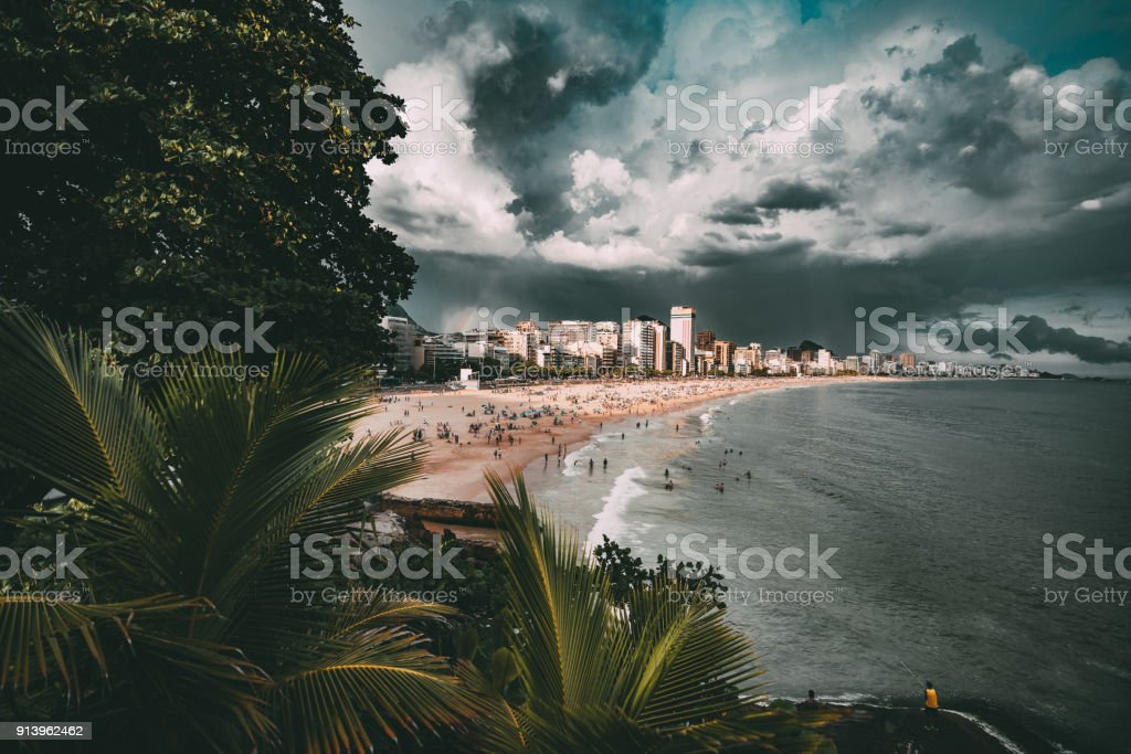 Warm rainy day in Rio, view of the beach stock photo
