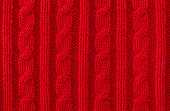 Warm Red Cable Knit Wool Background