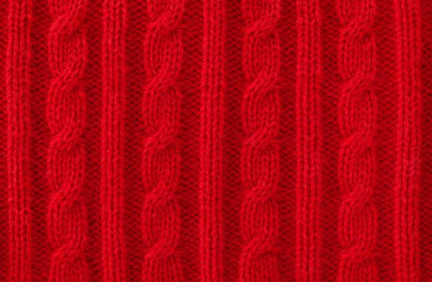 溫暖的紅色電纜針織羊毛背景 - 針織品 個照片及圖片檔