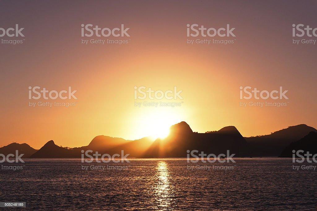 Warm Rio de Janeiro Sunrise stock photo