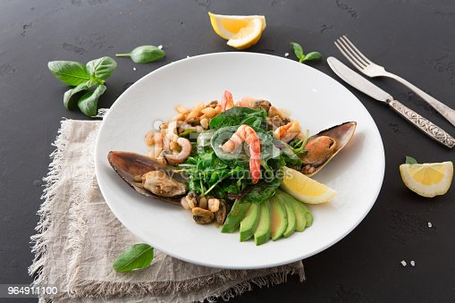 Warm Salad With Grilled Seafood Flat Lay Stock Photo & More Pictures of Appetizer