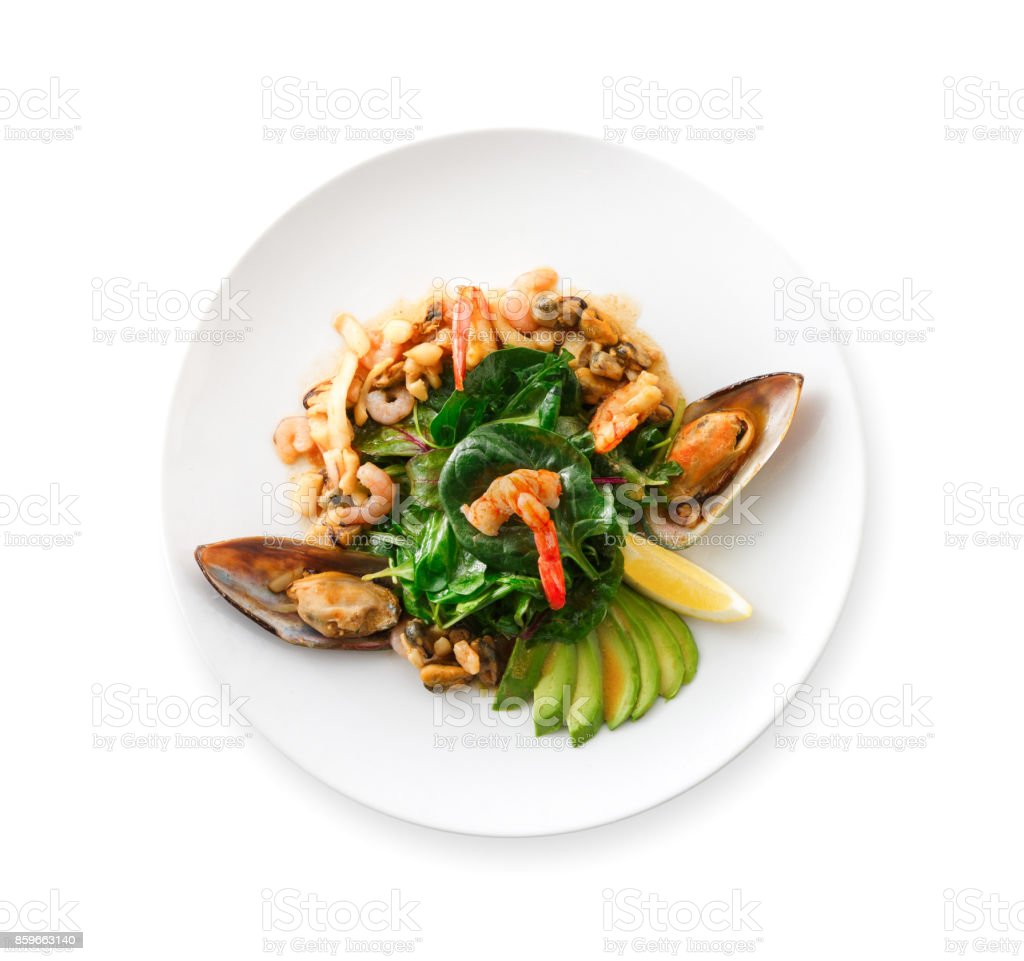 Warm salad with grilled seafood isolated stock photo