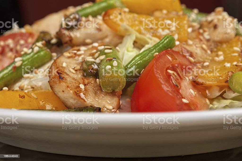 Warm salad with veal royalty-free stock photo