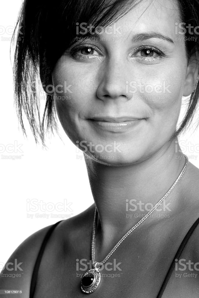 Warm Smile (B&W) royalty-free stock photo