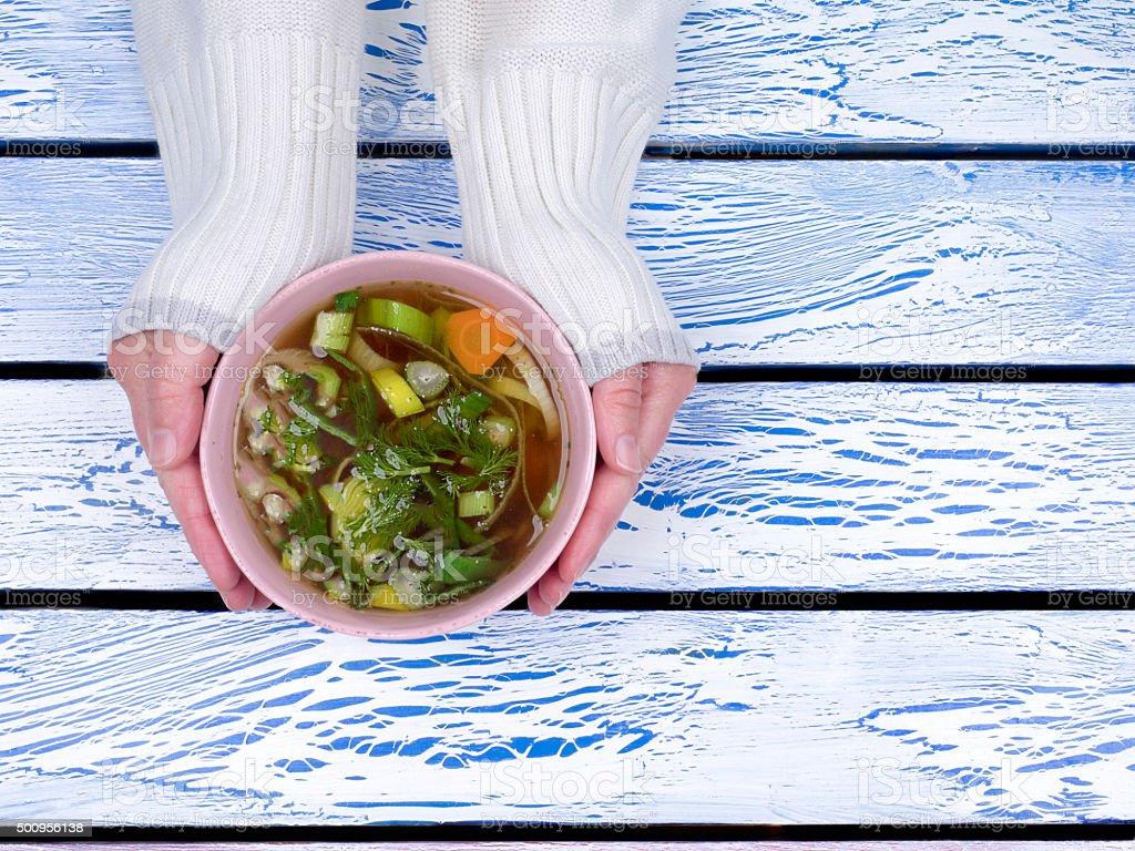 warm soup stock photo