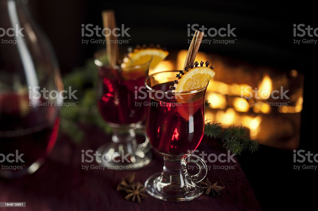 Warm Spiced Wine by the Fire royalty-free stock photo