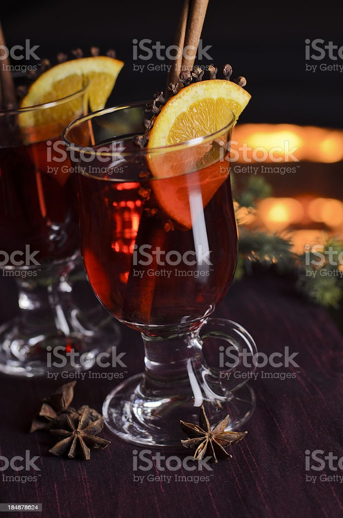 Warm Spiced Wine by the Fire stock photo