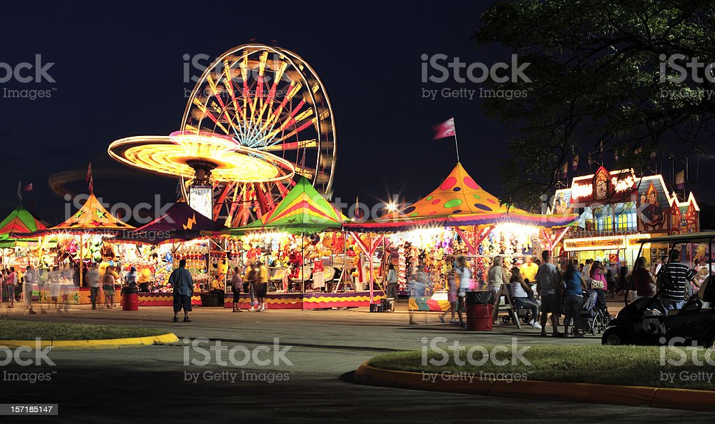 Warm summer night at the carnival stock photo