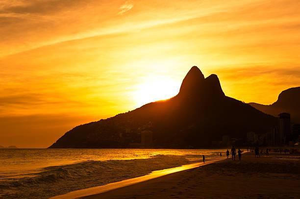 Warm Sunset on Ipanema Beach stock photo