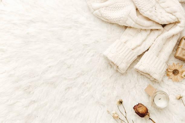 白色背景的保暖毛衣和幹花。舒適的葡萄酒。平躺, 頂部視圖 - 針織品 個照片及圖片檔