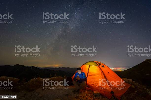 Photo of Warm tents under the Milky way, outdoor camping