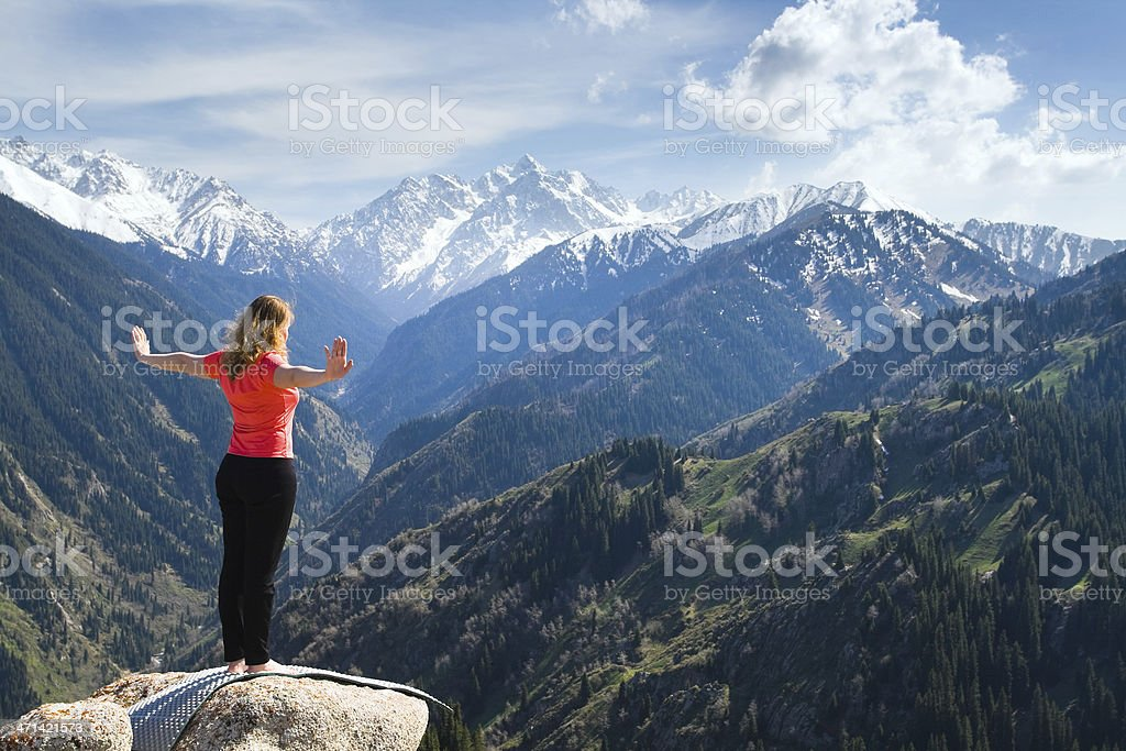Warm up before doing yoga poses royalty-free stock photo