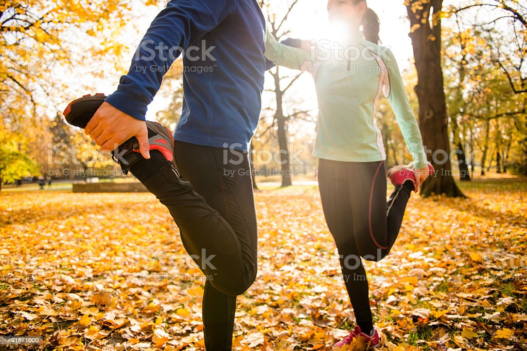 Warm up before jogging stock photo