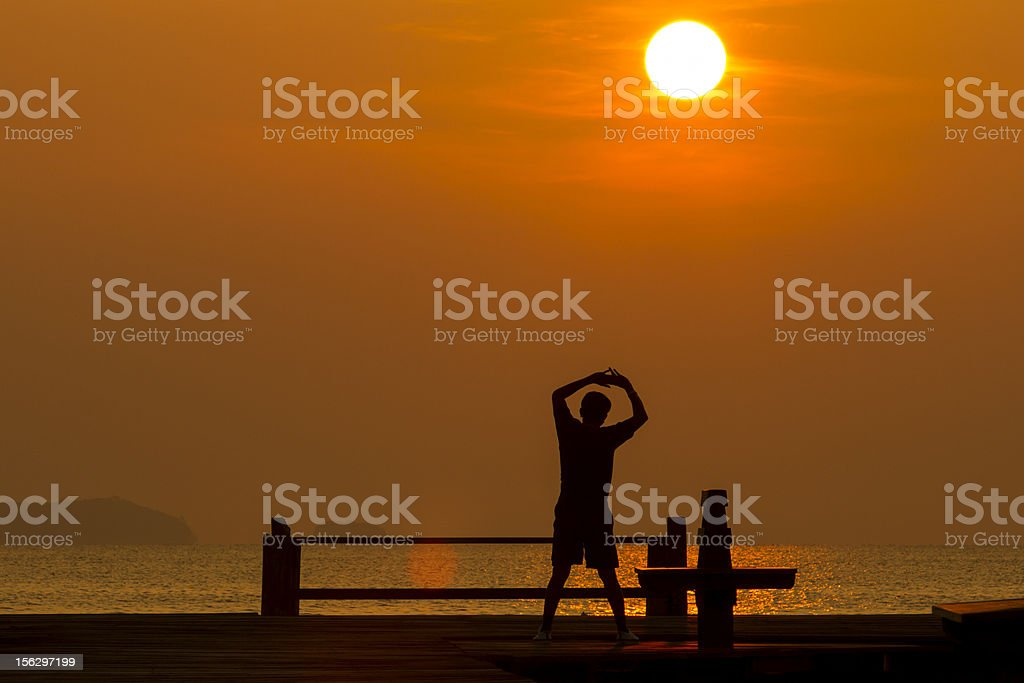 warm up in morning royalty-free stock photo