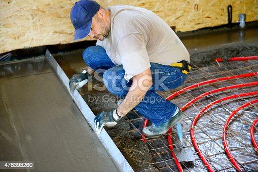 Warm water floor,pouring concrete floor