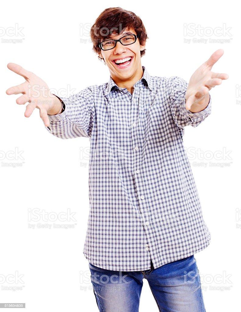 Warm welcoming guy stock photo