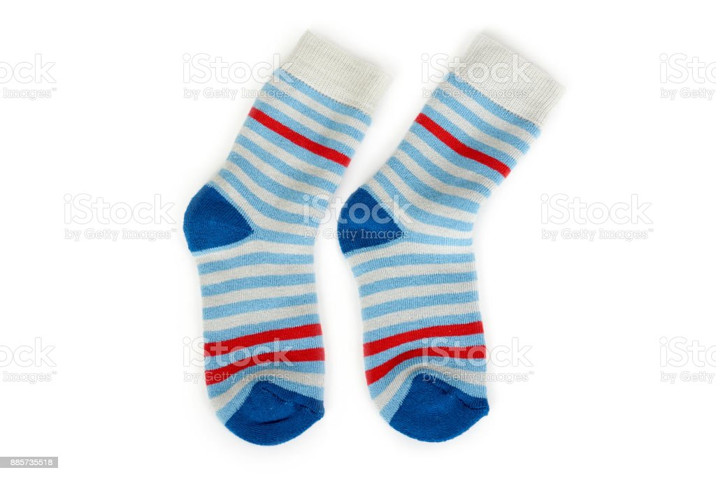 Warm winter children's stiped socks isolated on white background. Sale and buy stock photo