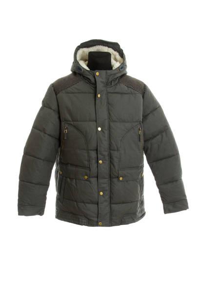 暖かい冬のジャケット。白で隔離された - ダウンジャケット ストックフォトと画像