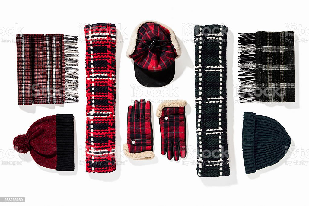 Warm winter knitted clothes - hat, scarf, gloves royalty-free stock photo