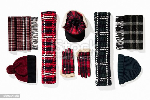 istock Warm winter knitted clothes - hat, scarf, gloves 638565630