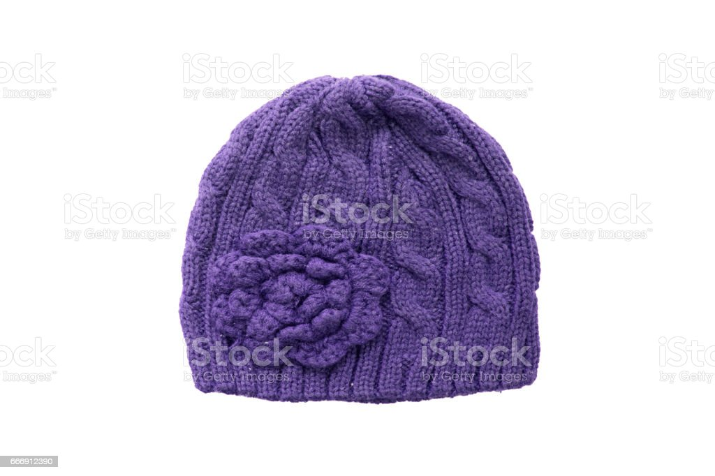 60204a616 Warm Winter Purple Knitted Wool Hat Isolated On White Background ...