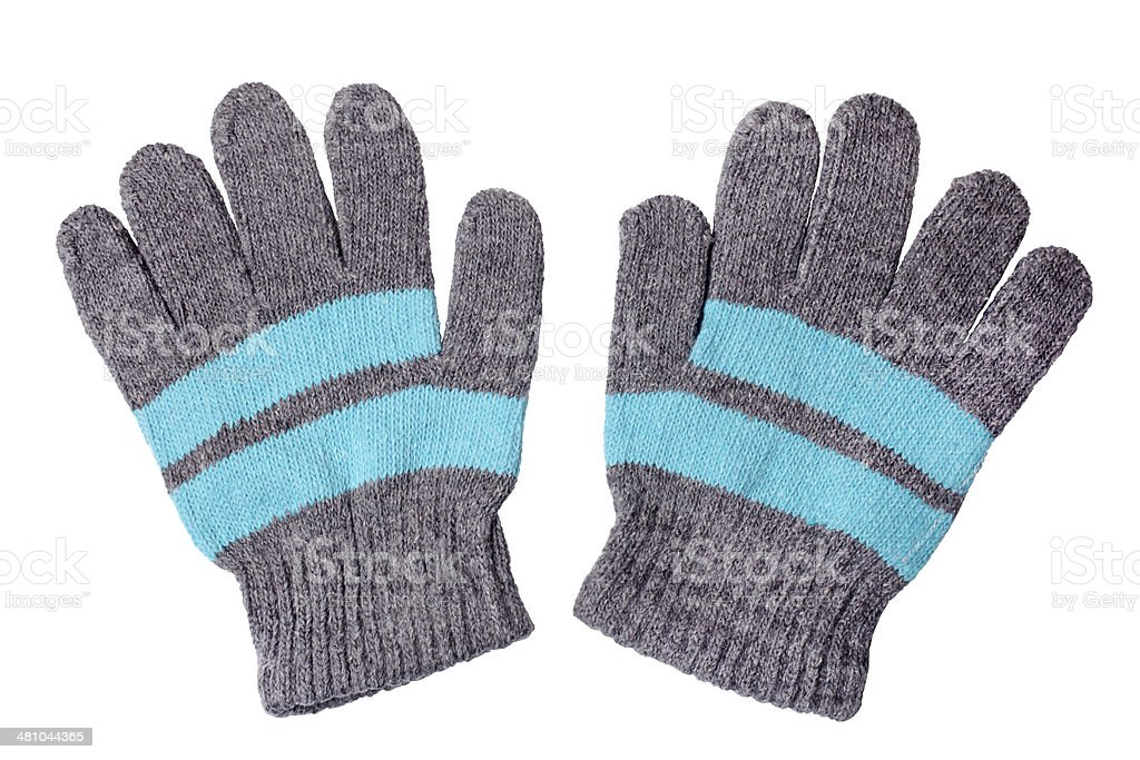 Warm woolen knitted gloves stock photo