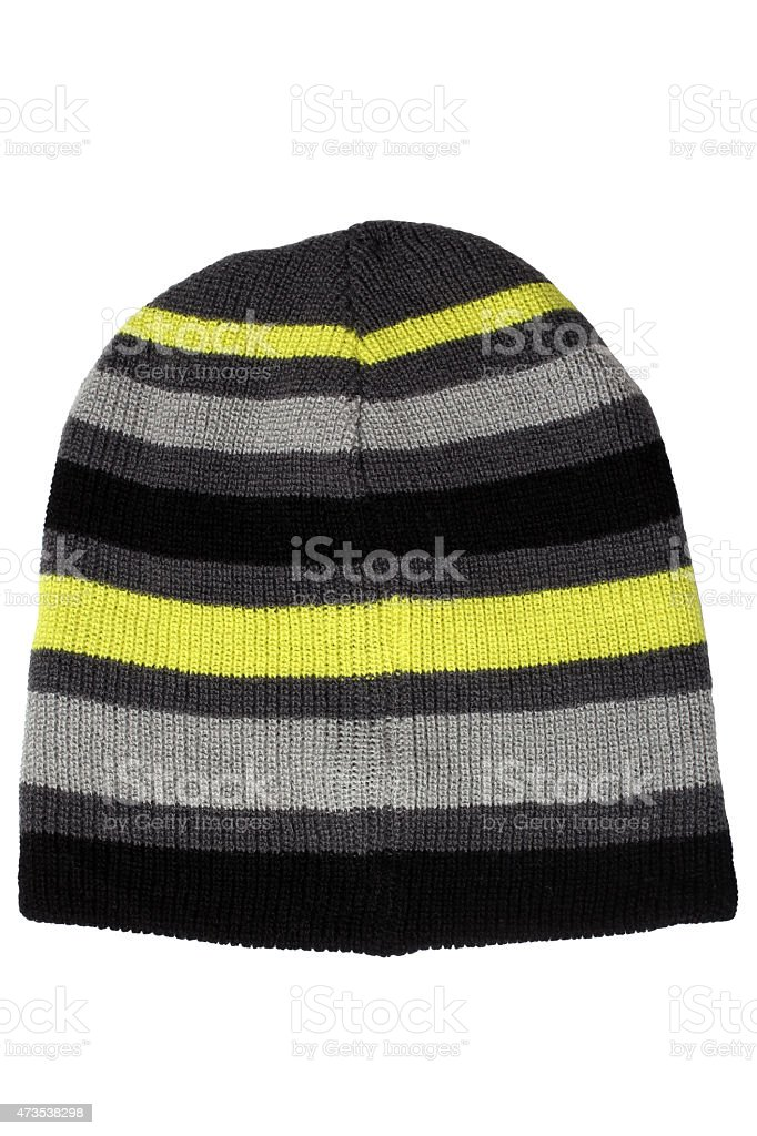 Warm woolen knitted hat stock photo