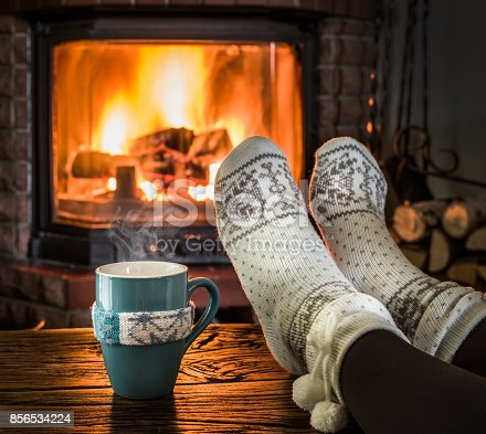 istock Warming and relaxing near fireplace. 856534224