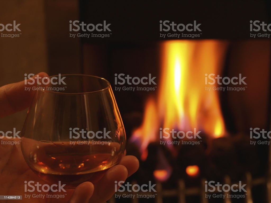 Warming by the fire royalty-free stock photo