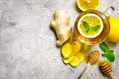 Warming ginger tea with lemon and mint