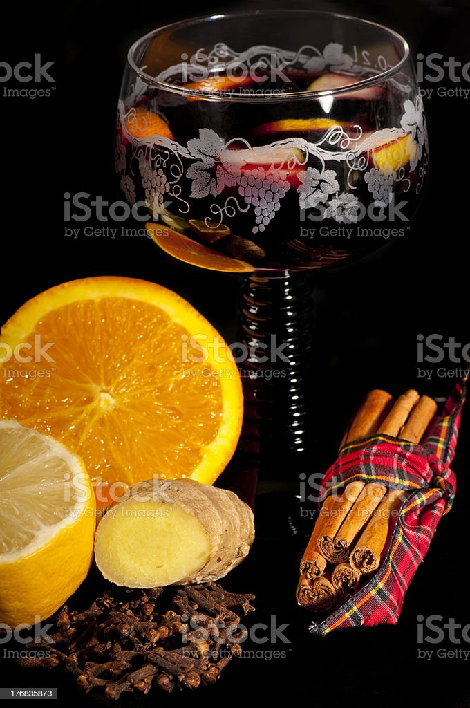 Warming mulled wine for Christmas with the ingredients. royalty-free stock photo