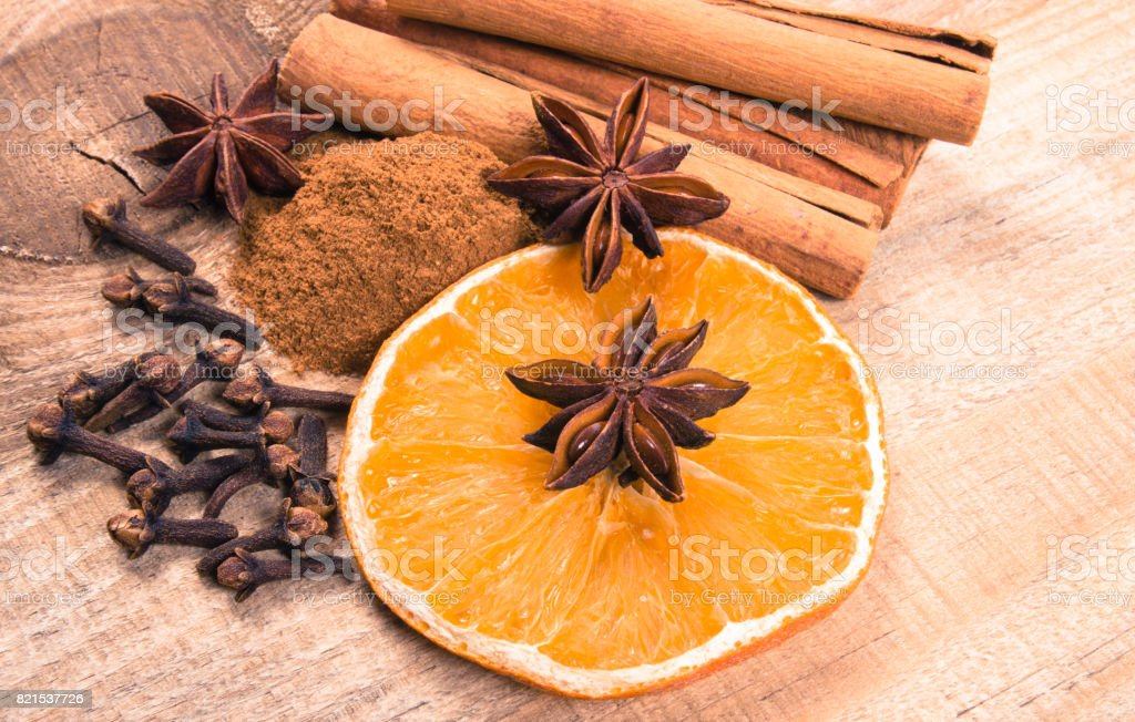 Warming spices - cinnamon, star anise, cloves. stock photo