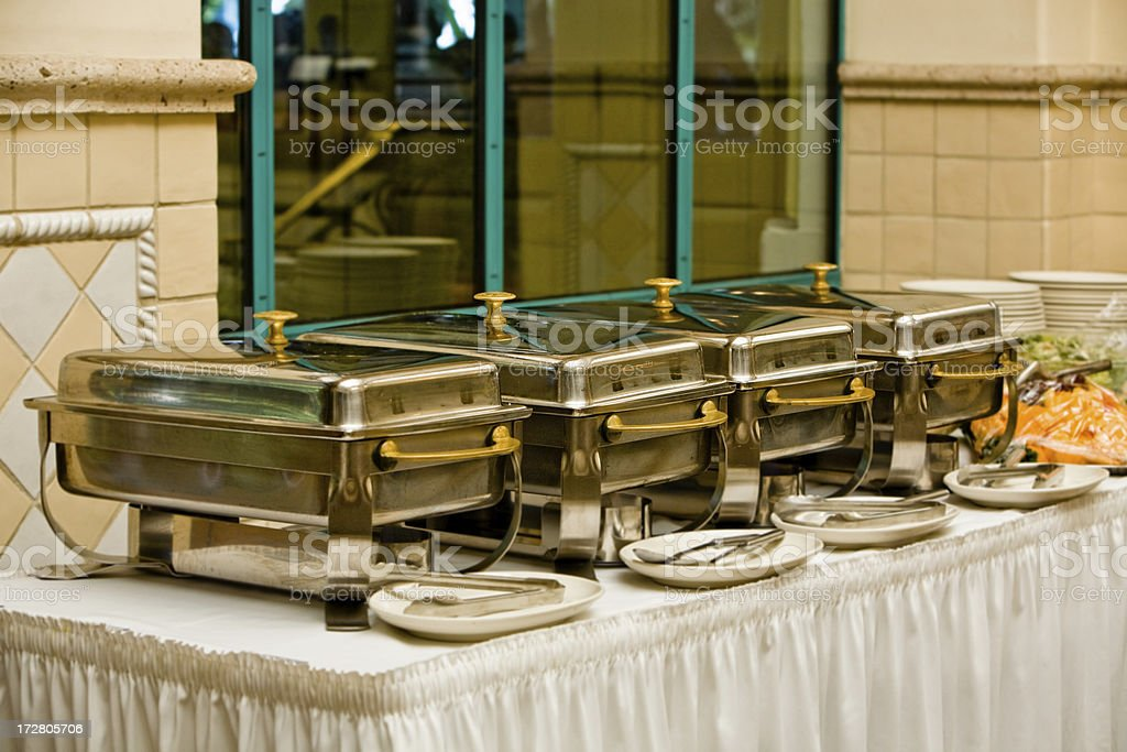 warming trays for a buffet royalty-free stock photo