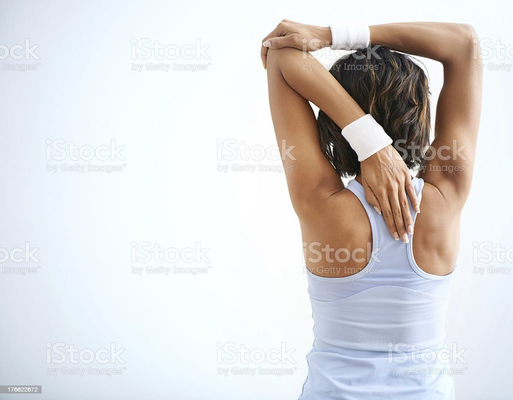 Warming up for a workout routine stock photo