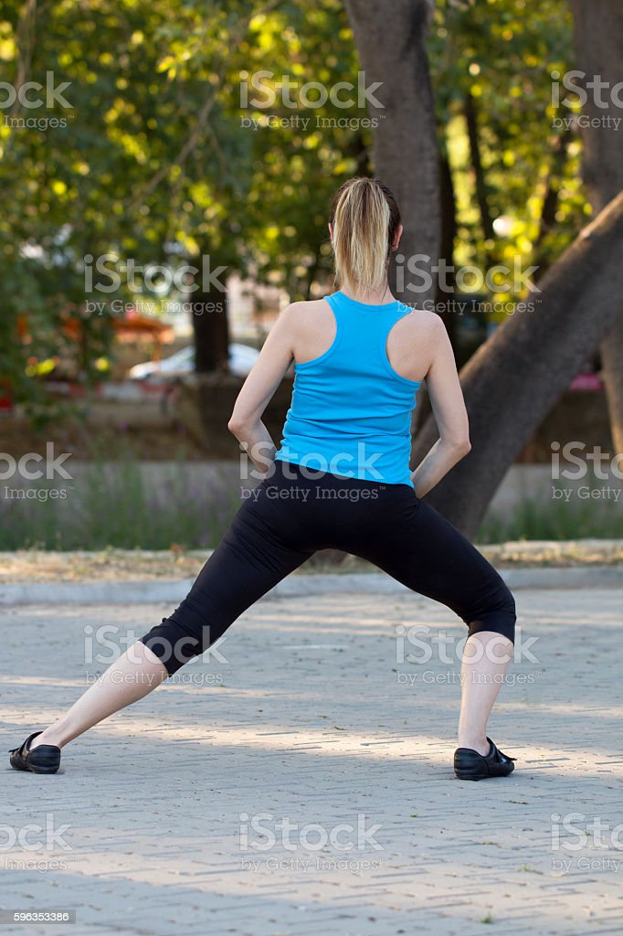 Warming up in Park royalty-free stock photo