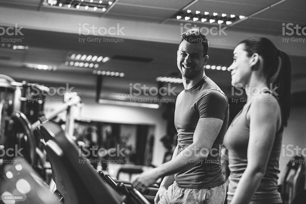 Warming up on a treadmill stock photo