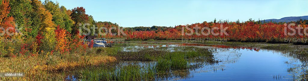 Warner Bay, Lake George, NY, Adirondack State Park, in Autumn stock photo