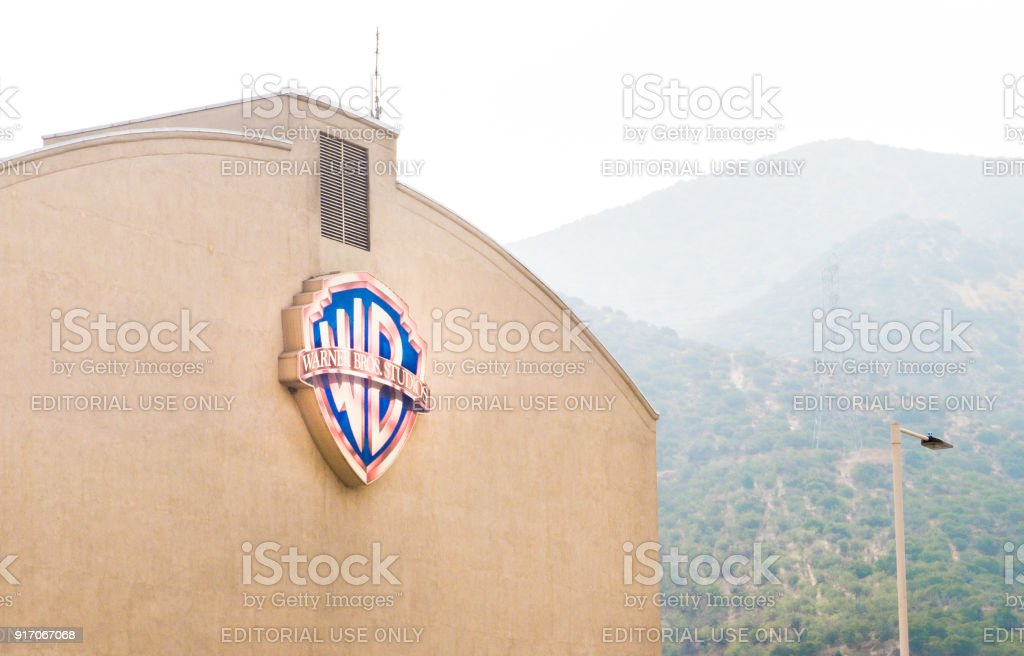 Warner Brothers logo on a building in Burbank. stock photo