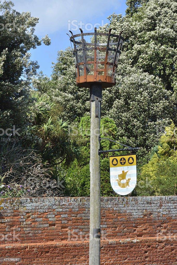 Warning beacon with shield royalty-free stock photo