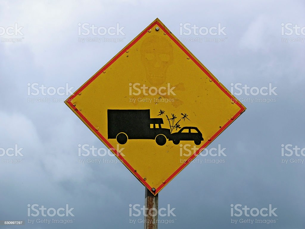 Warning Board, lorry and car accident. stock photo