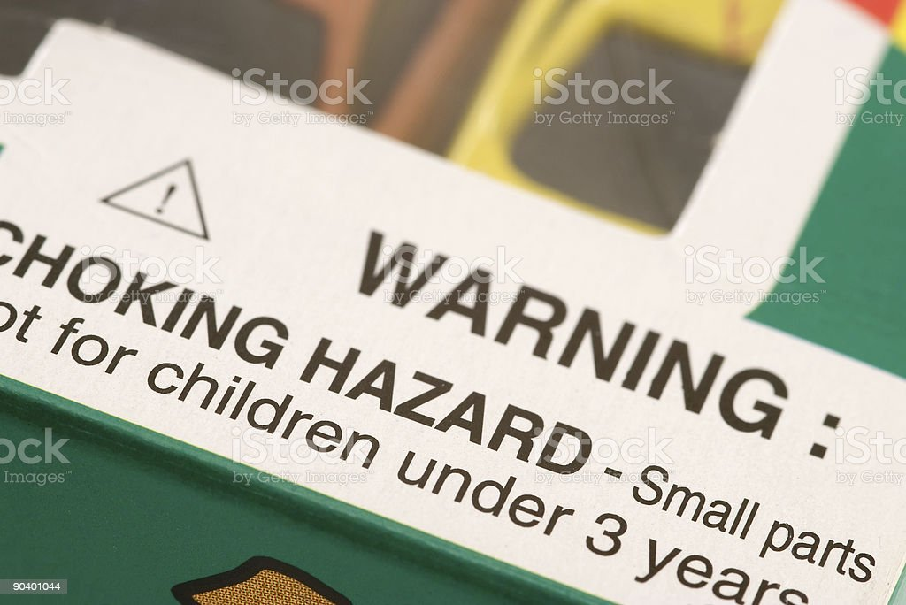 Warning: Choking Hazard stock photo