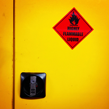 Warning Colours Of A Dangerous Liquids Cabinet Stock Photo - Download Image Now