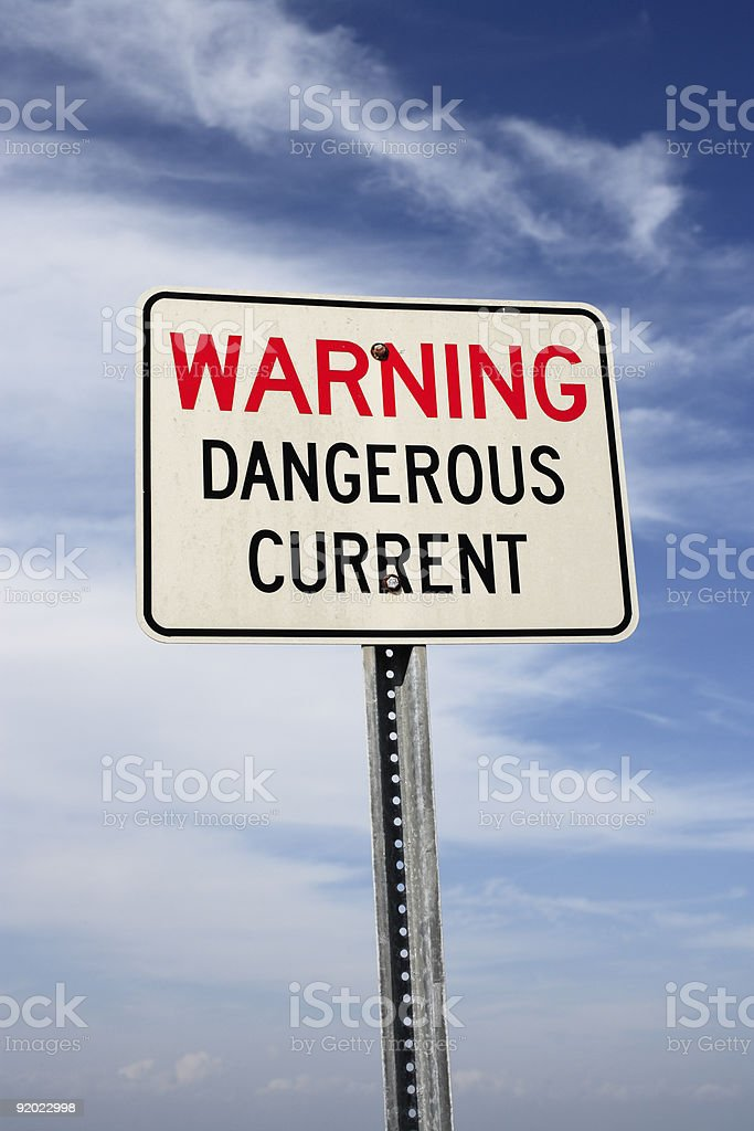 Warning - Dangerous Current royalty-free stock photo