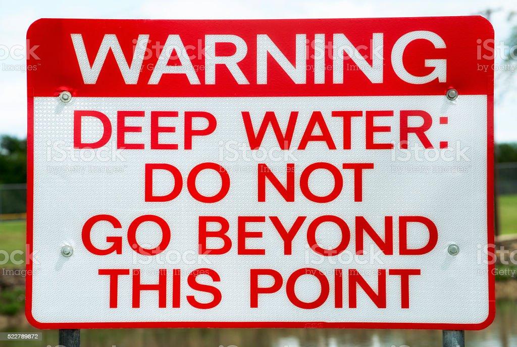 Warning Deep Water Sign stock photo