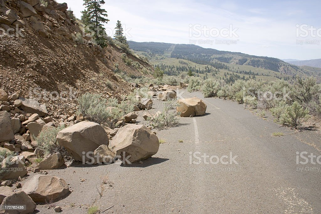 warning, falling rocks stock photo