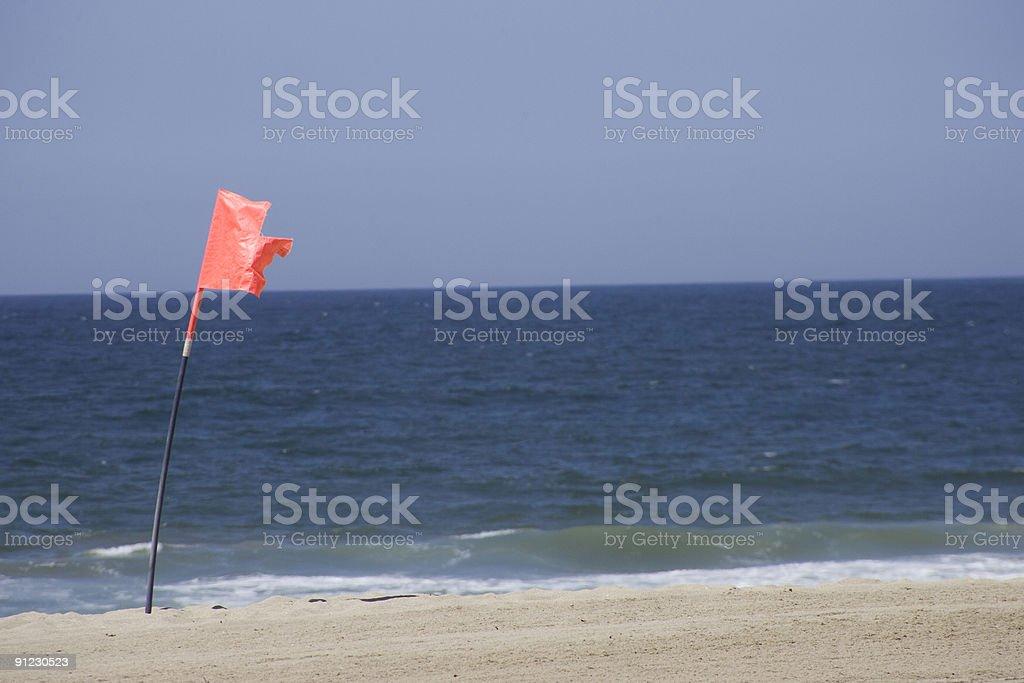 Warning flag on redodo beach royalty-free stock photo