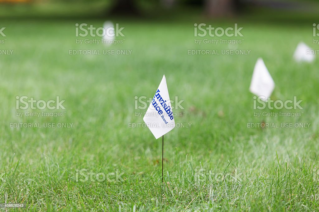 Warning Flags for Invisible Fence Brand Dog In Training System royalty-free stock photo